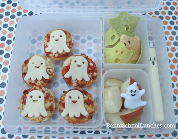 Ghost pizza bites, Halloween bento lunch