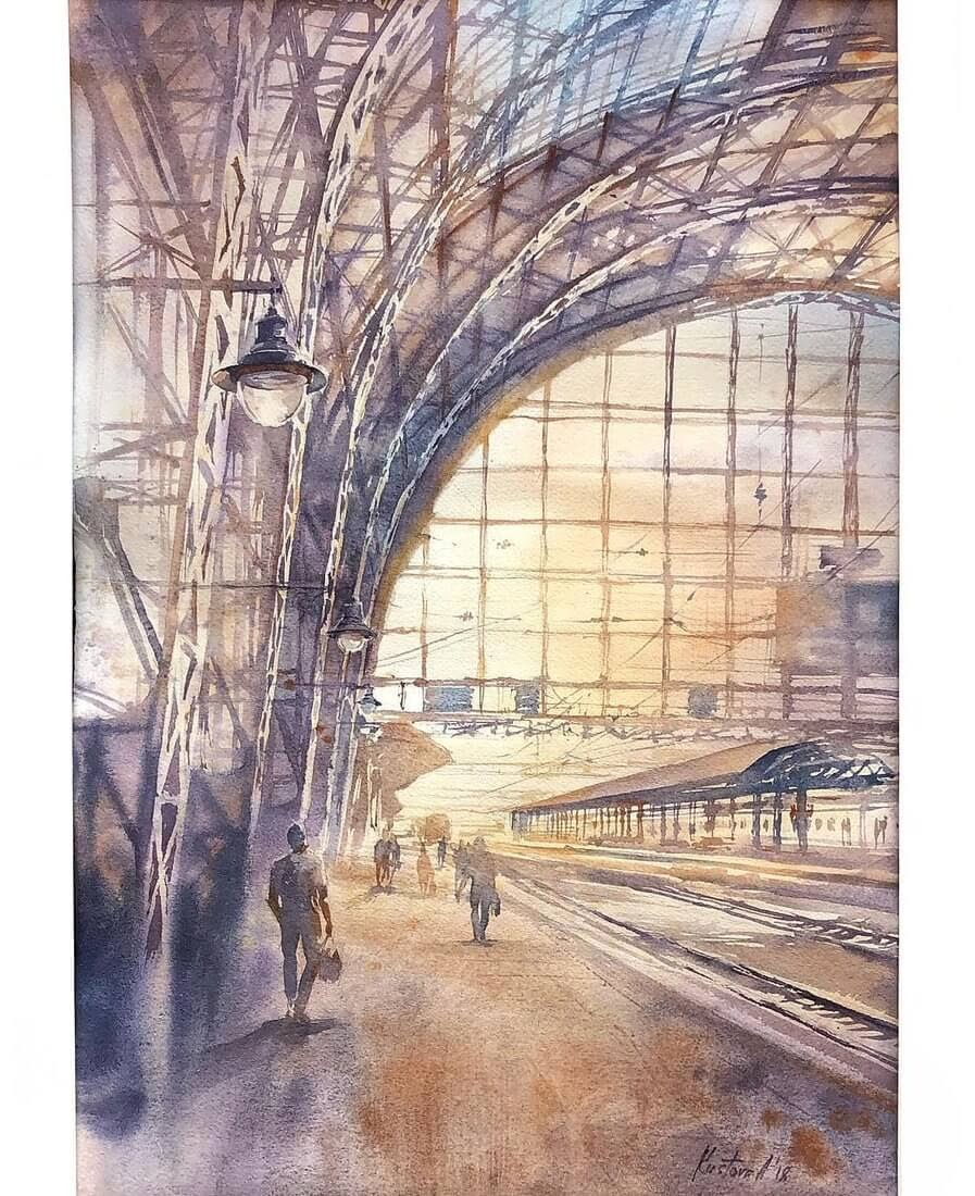 08-Moscow-Railway-Station-Anastasia-Kústova-Architectural-Watercolor-Paintings-En-Plein-Air-www-designstack-co