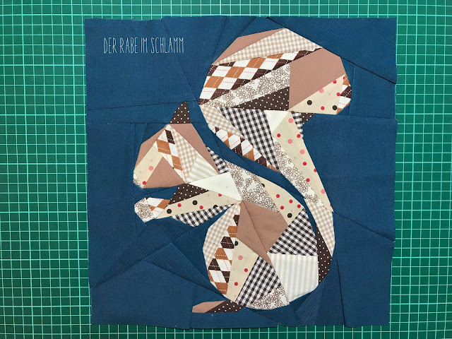 Der Rabe im Schlamm, Quiltblock, Fall Block Party, Geometric Squirrel, Quilteplay, Foundation Paper Piecing