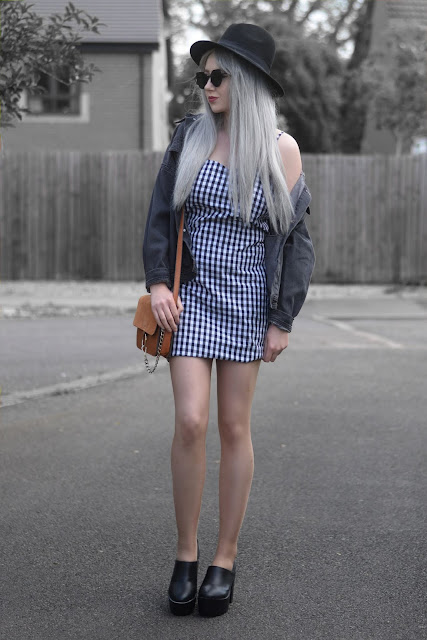 Sammi Jackson - Primark Fedora / Zaful Sunglasses / VIP Grey Denim Jacket / Ever Pretty Gingham Dress / Zaful Suede Satchel Bag / Romwe Cleated Sole Boots