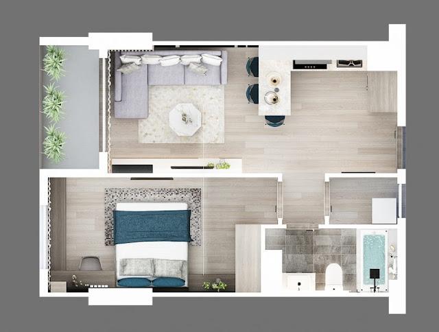 Thiết kế chung căn hộ Sơn Trà Ocean View 1 phòng ngủ