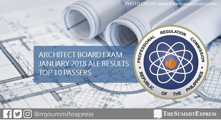 ALE RESULT: January 2018 Architect board exam top 10 passers