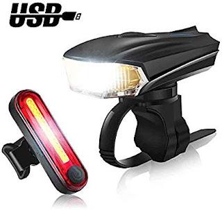 Luce Bici a LED Ricaricabile USB,COOLGIRL
