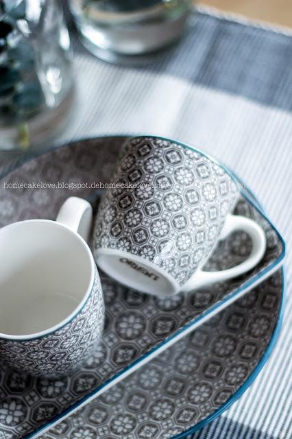 Geschirr orientalisch, grau blau, Dekoration Tisch