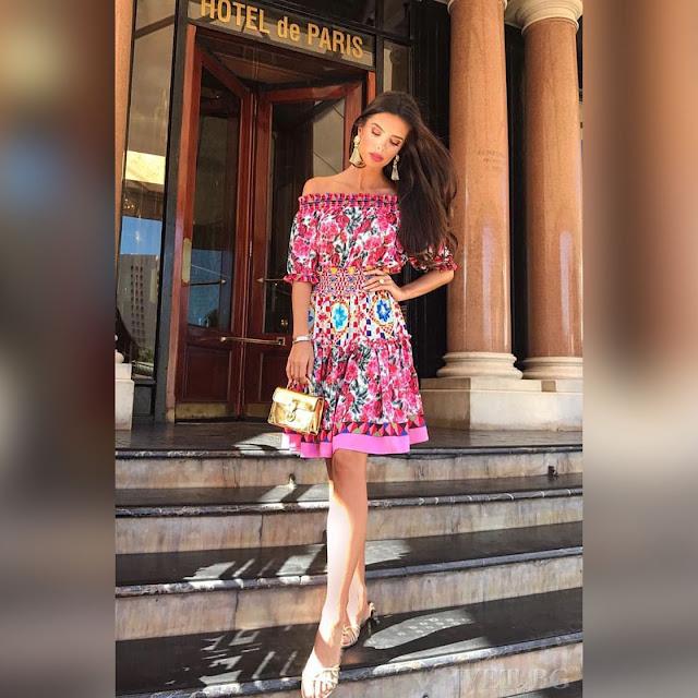 Μοντέρνο μίντι χρωματιστό φόρεμα AGLAYA