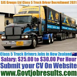 SJS Groups Ltd Class 5 Truck Driver Recruitment 2021-22