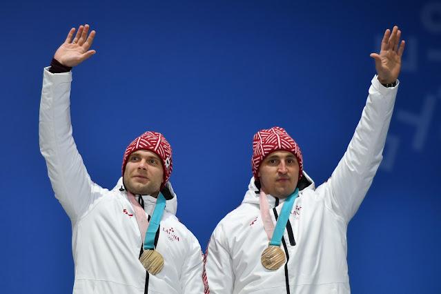 Оскар Мелбардис (Oskars Melbārdis) и Янис Стренга (Jānis Strenga) олимпийцы сборной Латвии