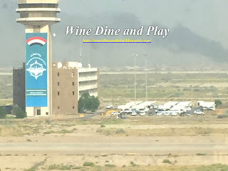 A view of the air traffic control tower and the dessert beyond at the Baghdad International Airport in Baghdad, Iraq
