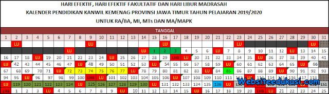 Kalender Pendidikan Kemenag 2019/2020 Jawa Timur