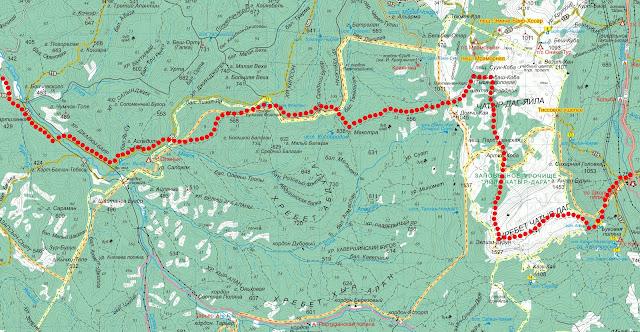 Карта маршрута Альма – Чатырдаг – Ангарский перевал