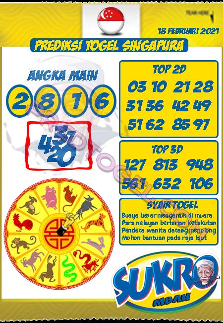 Prediksi Mbah Sukro SGP45 Kamis 18 Februari 2021