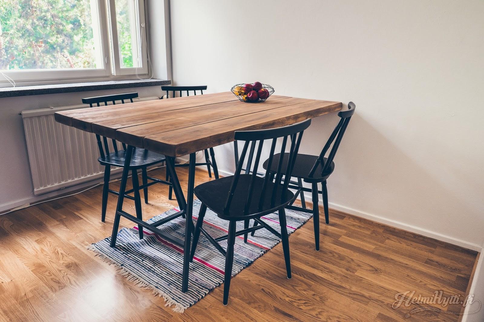 id lankkupöytä pukkijalat pinnatuoli sisustus plank table