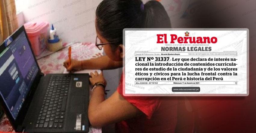 Oficializan norma para incluir en el Currículo escolar contenidos sobre lucha anticorrupción (LEY N° 31337)