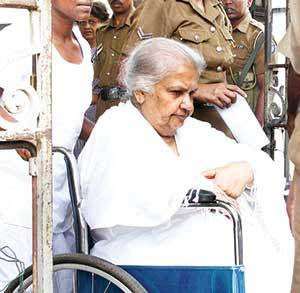 Sicille Kotalawela being brought to Colombo Magistrate Court on Thursday