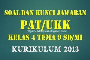 Download Soal dan Kunci Jawaban PAT/UKK Kelas 4 Tema 9 SD/MI Kurikulum 2013