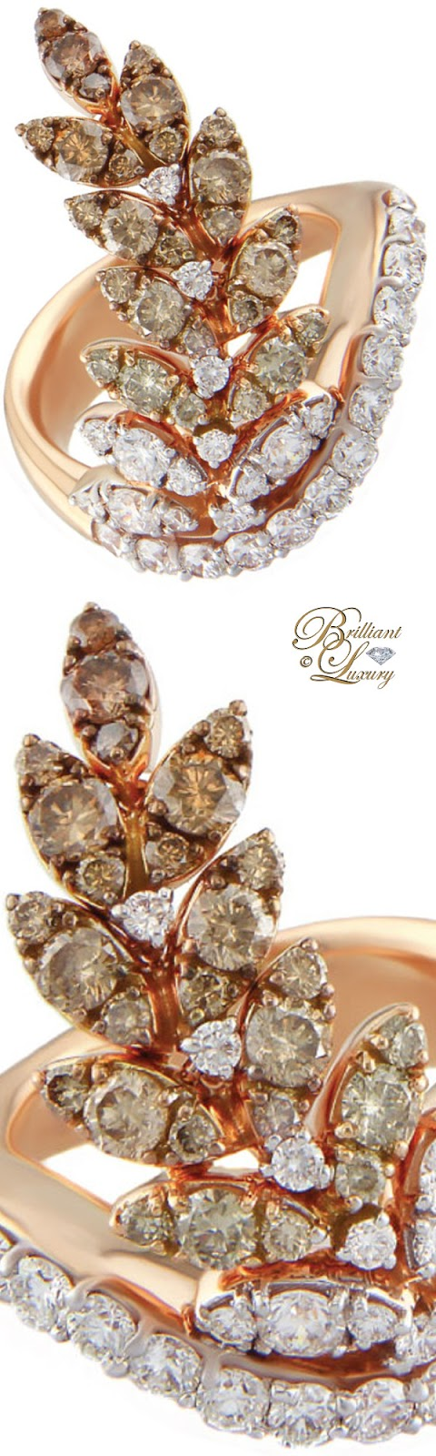 Brilliant Luxury ♦ Alessa Leaf Ring With Diamonds