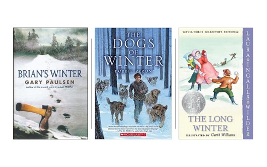 Image of Brian's Winter, The Dogs of Winter, and the Long Winter in Pin image for 15 Winter Themed Novels for Upper Elementary