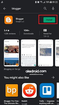 "Hasil pencarian ""Blogger"" di Play Store Android"