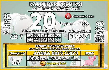 Kalender Prediksi HK Senin 20 September 2021
