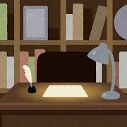 書斎のイラスト(背景素材)