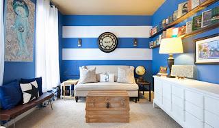 Diseño de sala azul blanco
