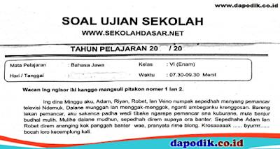 Download Gratis Soal Ujian Sekolah Mata Pelajaran Bahasa Jawa Kelas 6