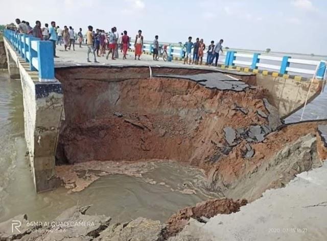 करोड़ों के इस पुल का एक महीना पहले CM नीतीश ने किया था उद्घाटन, बाढ़ में ध्वस्त हुआ एप्रोच रोड