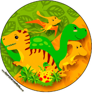 Dinosaurs Party Toppers or Free Printable Candy Bar Labels.