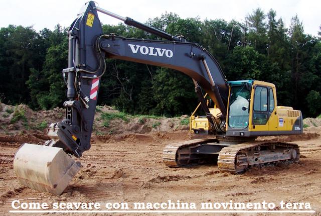 Come scavare con mezzo meccanico o macchina movimento terra