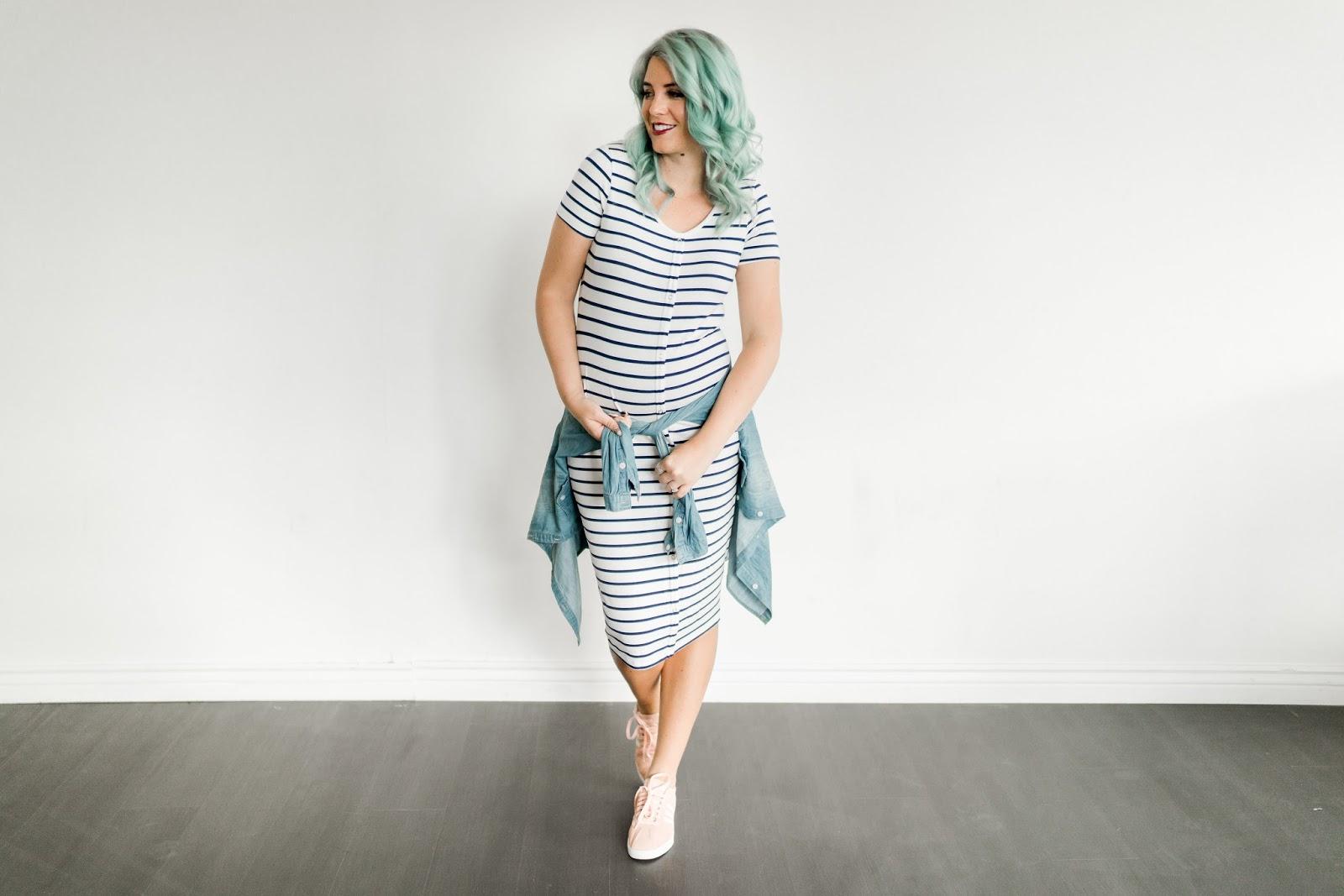 Utah Fashion Blogger, Maternity, Striped Dress