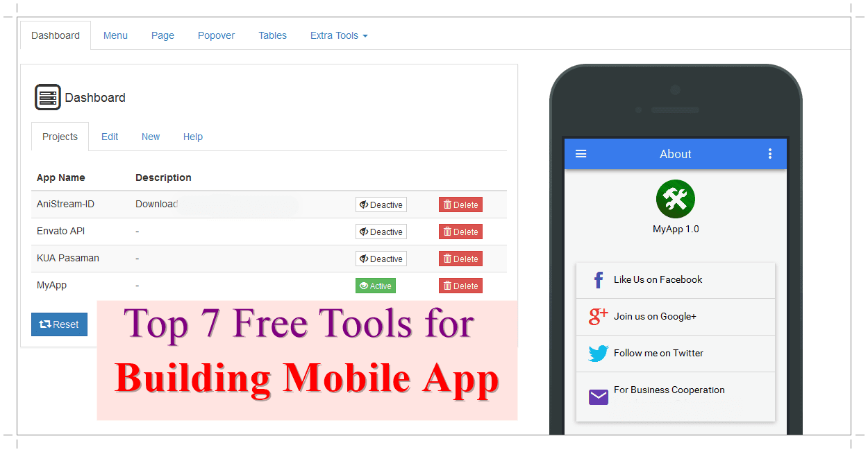 Free Tools for Building Mobile App