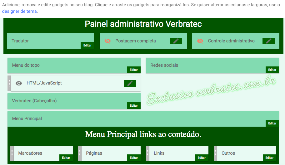 Imagem do painel administrativo layout Blogger Verbratec.