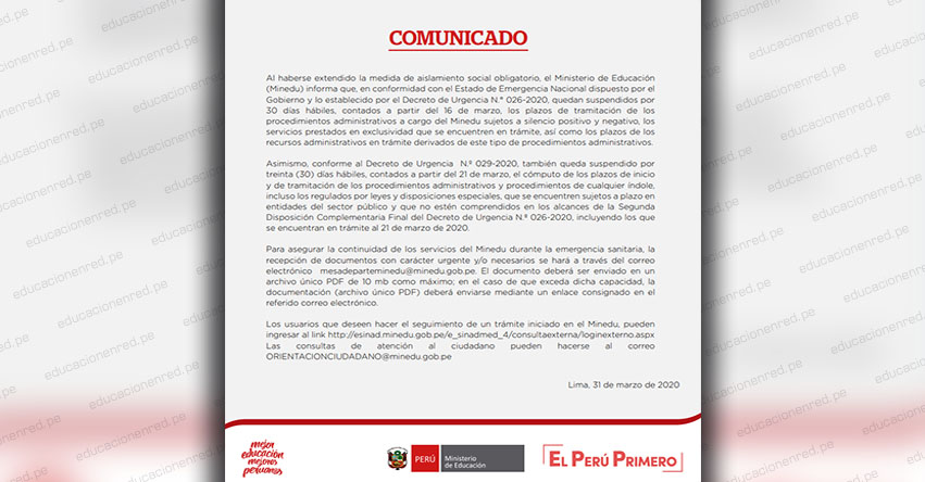COMUNICADO MINEDU: Mesa de parte y plazos de tramitación de los procedimientos administrativos a cargo del Ministerio de Educación - www.minedu.gob.pe