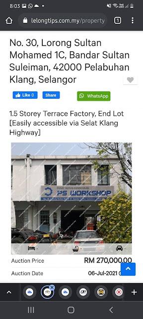 Lot Kedai Untuk Dilelong RM270K di Pelabuhan Klang, Selangor