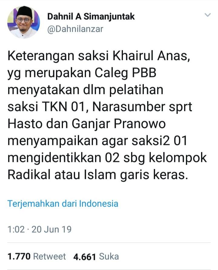 Saksi 02 Blak-Blakan Ungkap Sumber Fitnah Islam Radikal untuk Kubu Prabowo-Sandi