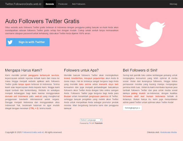 Masuk dengan akun twitter kalian