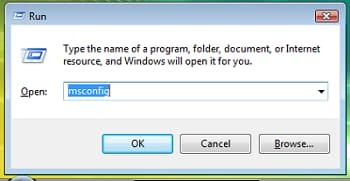 run windows to open msconfig