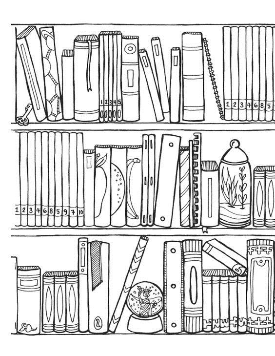 Tranh tô màu giá sách ba tầng
