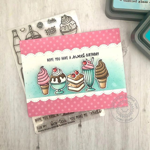 Sunny Studio Stamps: Summer Sweets Stitched Scallop Dies Dessert Themed Birthday Card by Tammy Stark