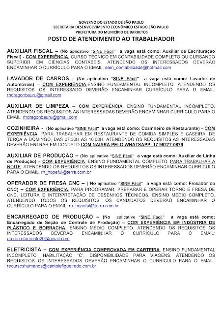 VAGAS DE EMPREGO DO PAT BARRETOS PARA 04-09-2020 PUBLICADAS NA TARDE DE 03-09-2020 - PAG. 4
