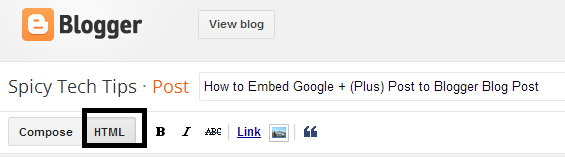 embed google plus post to blogger post