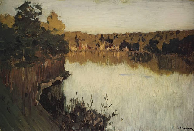 Исаак Ильич Левитан - Лесное озеро. Заход солнца. 1890-е
