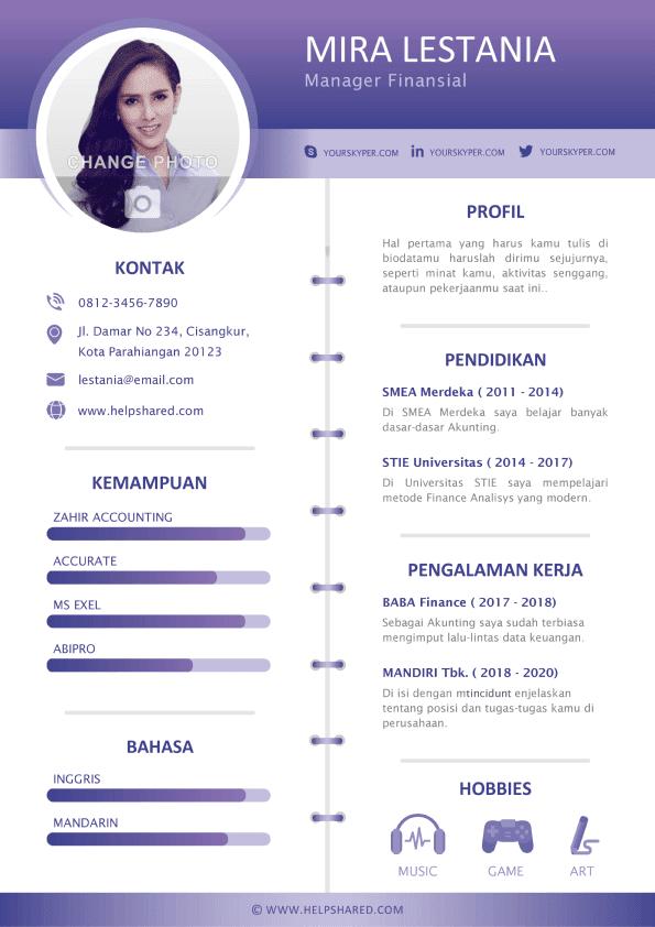 Contoh CV Lamaran Kerja Creative Curriculum Vitae