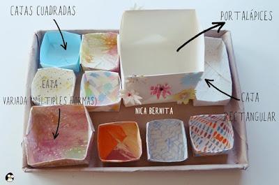 Cajas de papel cuadradas y rectangulares. Portalápices de papel. Nica Bernita Manualidades