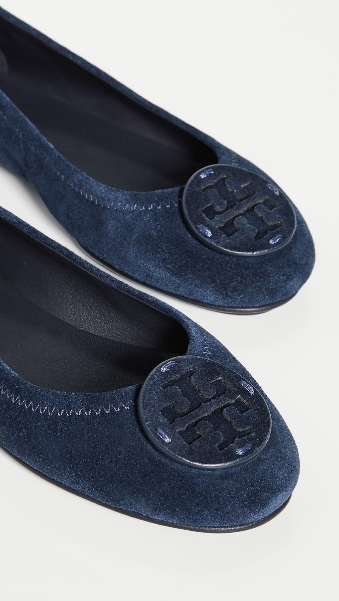 Tory Burch Minnie Travel Ballet Flats Perfect Navy