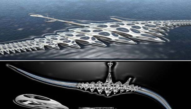 The strange Morph hotel is going to transform the cruising business. It is an idea from an architect and engineer Mr. Gianluca Santosuosso. The Morph is constructed around a stretchy spinal column half a mile in length, which can change shape depending on the sea waves. It travels slowly worldwide harboring in towns allowing passengers to get on and off.