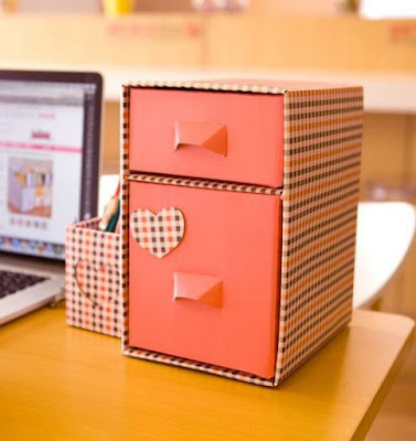 Cute decorative storage boxes with drawers from cardboard