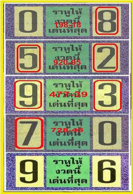 Thai lotto 3up Touch Tip paper 01-8-2014