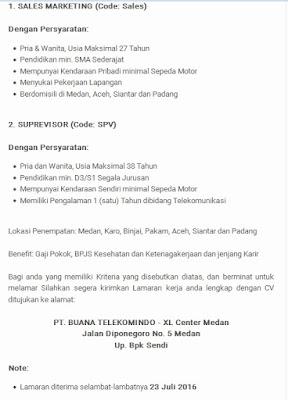 Lowongan kerja resmi PT Buana Telekomindo