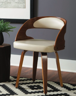 ofm 161 mid century modern wood and vinyl chair